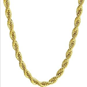 Jewelry - 4mm Stainless Steel Twist Rope Chain, 24inches